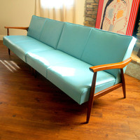 50s VINTAGE DANISH MODERN Sectional Sofa Lovely 1950&#x27;s Modular Mid Century Modern Furniture Aqua &amp; Walnut Wood Lounge Love Seats Chicago