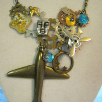 Steampunk Moon Charm Necklace