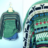 Vintage 70s Sweater / Resort Ski Green Sweater / l