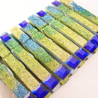 Double Sided Clothespins in Blue and Green Glitter with Sapphire Accents, Use for Garland, Gift Tags, Goody Bags (10)