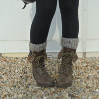 crochet boot cuff leg warmers in grey marble tweed