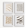 Modern Art - Animal Prints - Set of Four 5x7s (mocha) - home decor, wall decor, decor for mom, living room, dining room, natural colors