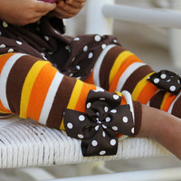 Thanksgiving Leg Warmers -- Bow Leg Warmers -- orange, brown, amber gold striped for baby girls