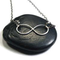 Infinity Necklace - Sterling Silver Infinity and Gunmetal