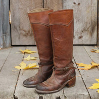 Vintage Rugged Leather Riding Boots, Sweet Vintage Cowboy Boots