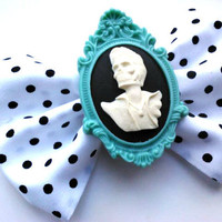 Rockabilly/ Psychobilly Hair Bow- Teal Zombie Elvis an Polka dots
