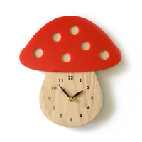 Modern Mushroom Wall Clock Red by decoylab on Etsy