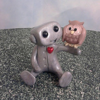 Robot and his Pet Owl by sleepyrobot13 on Etsy