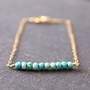 arizona turquoise - beaded bar gold bracelet