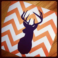 Deer Silhouette with Chevron Zig Zag Stripes - One print -  12&quot;x12&quot;