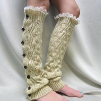 LW40 Wheat leaf crochet knit button down legwarmers w/lace