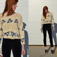 Vintage 90s Grunge Revival POINTELLE Knit Floral Scallop Ruffle Crop Sweater Top