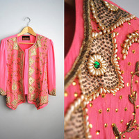 The Pink Princess - Vintage Pink Chiffon Lightweight Beaded Sequin Jacket Top Party