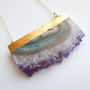 Amethyst Slice Druzy Necklace : February Birthstone, Large Size