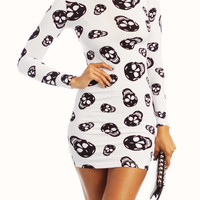 skull-printed-turtleneck-dress WHITEBLACK - GoJane.com