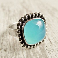 Blue Green Chalcedony Ring Aqua Modern Western Style Sterling Ring