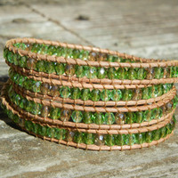 Beaded Leather 4 Wrap Bracelet with Green and Gold Czech Glass Beads