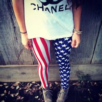 American Flag Leggings