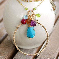 Personalized artisan birthstone gemstone necklace - Deira