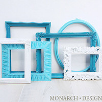 Teal Frame Set Dark Teal Light Teal White Frame Set Upcycled Open Back Frames