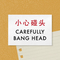 Fun Fridge Magnet. Chinglish Humor. Carefully Bang Head