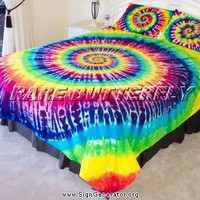 Rainbow tie dyed Queen size quilt duvet doona cover set