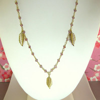 Triple leaf pink tourmaline rosary necklace