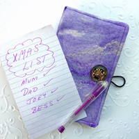 Mini Note Book Slip Cover. Pocket Journal. Felted Wool. Lavender