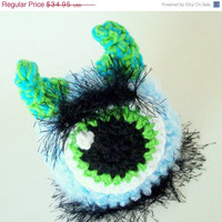 ON SALE Newborn Monster Hat Photo Prop Christmas Gift Idea Baby Boy Hat Blue Monster Beanie Winter Fashion Stocking Stuffer Ski Hat Christm