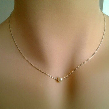 White Pearl Necklace - single freshwater Pearl Pendant, Birthstone of June, wedding,bridal, birthday, mom,sister, bridesmaid gifts, simple