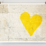 Paris Graffiti, Yellow Heart Art -- Paris Photography, French Art Prints, Heart Wall Art - Dorm Decor