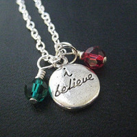 I BELIEVE in CHRISTMAS Necklace with 2 Sterling Silver Wrapped Swarovski Crystals - Christmas Party Necklace on Silver Plate Chain