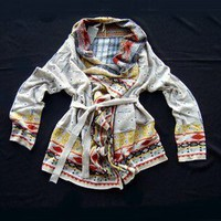 Anthropologie Promises to Keep Navajo Print Tie Sweater Coat Cardigan 26-C137 M