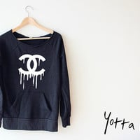 Women Crop Sweatshirt - Melted Chanel LOGO