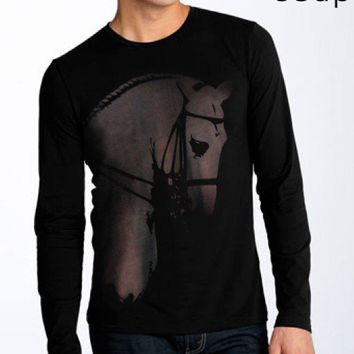 SALE dressage horse portrait bleached into fibers men's by coup