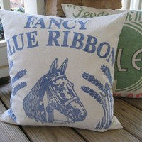 Horse Pillow Fancy Blue Ribbon Blue on Cream by catnapcottage