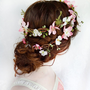 rustic wedding hair wreath, woodland headpiece, pink bridal hair flower - FOLKLORE - fern, pink flower