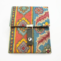 iPad Mini sleeve case cover Kindle Fire HD 7 case - Colorful decorator fabric - Red yellow teal blue floral print