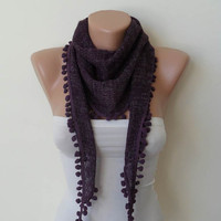 New - Gift - Purple Scarf - Soft Tricot Fabric - Pompom - Cowl - Scarf by Umbrella Design