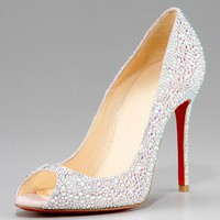Christian Louboutin Crystal Encrusted Suede Pump - $199.00
