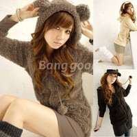 Korea Girls Bear Ear Fleece Hooded Faux Fur Zip Up Warm Outwear Free Shipping!  - US$16.73