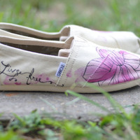 "Floral ""Live Free""- custom TOMS- FLASH SALE"