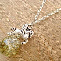 Pegasus Gold Crackle Glass Marble Necklace