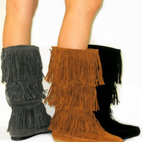 Cherokee Indian Faux Suede Moccasin Fringe Tassel Flat Boots Mid-Calf