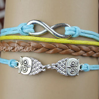 Bracelet-infinity bracelet,lover owls bracelet,braid leather