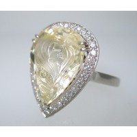 CATHY CARMENDY ONE OF A KIND PLATINUM & YELLOW SAPPHIRE CAMEO RING sz 6 | Portero Luxury