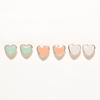 With Love From CA Stud Heart Earring Trio at PacSun.com