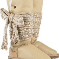 Australia Luxe Collective Mars tie-embellished sheepskin boots – 60% at THE OUTNET.COM