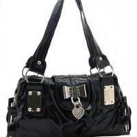 Amazon.com: SEY Sweet Black Bow / Heart Lock PU Patent Leather Satchel Bowler Hobo Handbag Purse: Clothing