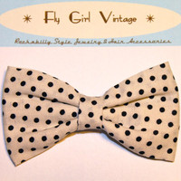 Vintage 1920s Style Hair Bow Clip- Polka Dot- Fabric Hair Bow-Rockabilly-Pin Up- Mod- For Women, Teens, Girls, Babies, Children